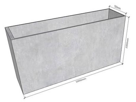 GRC Concrete Tall Planter 2000 dimensions