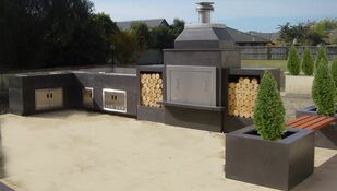 GRC Concrete outdoor fireplace landscaping ideas
