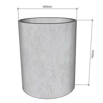 GRC Concrete Planter round cylinder 600 tall dimensions