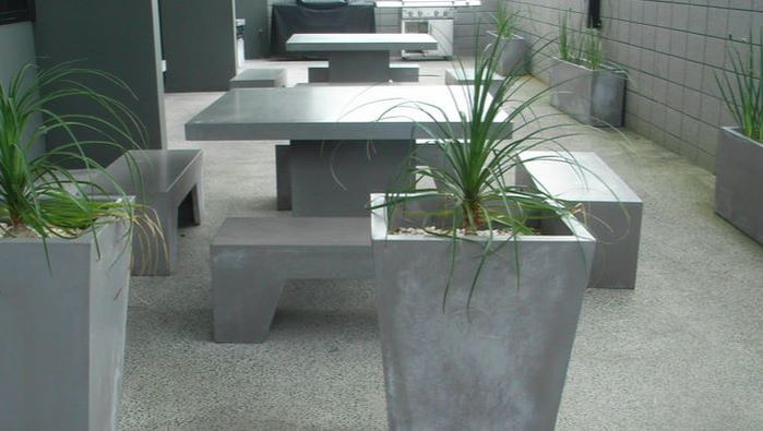 GRC Concrete outdoor furniture table and chairs settings 1.4m square table
