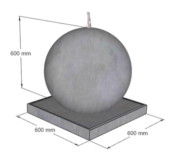GRC Concrete Ball Fountain 600mm dimensions