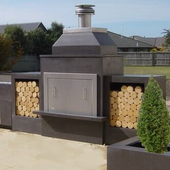 GRC concrete fireplace custom outdoor living wood boxes and accessories
