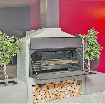 GRC concrete fireplace custom outdoor living woodburner fire surrounds