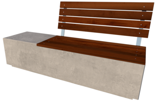 GRC Concrete street furniture boulevard backed timber seat